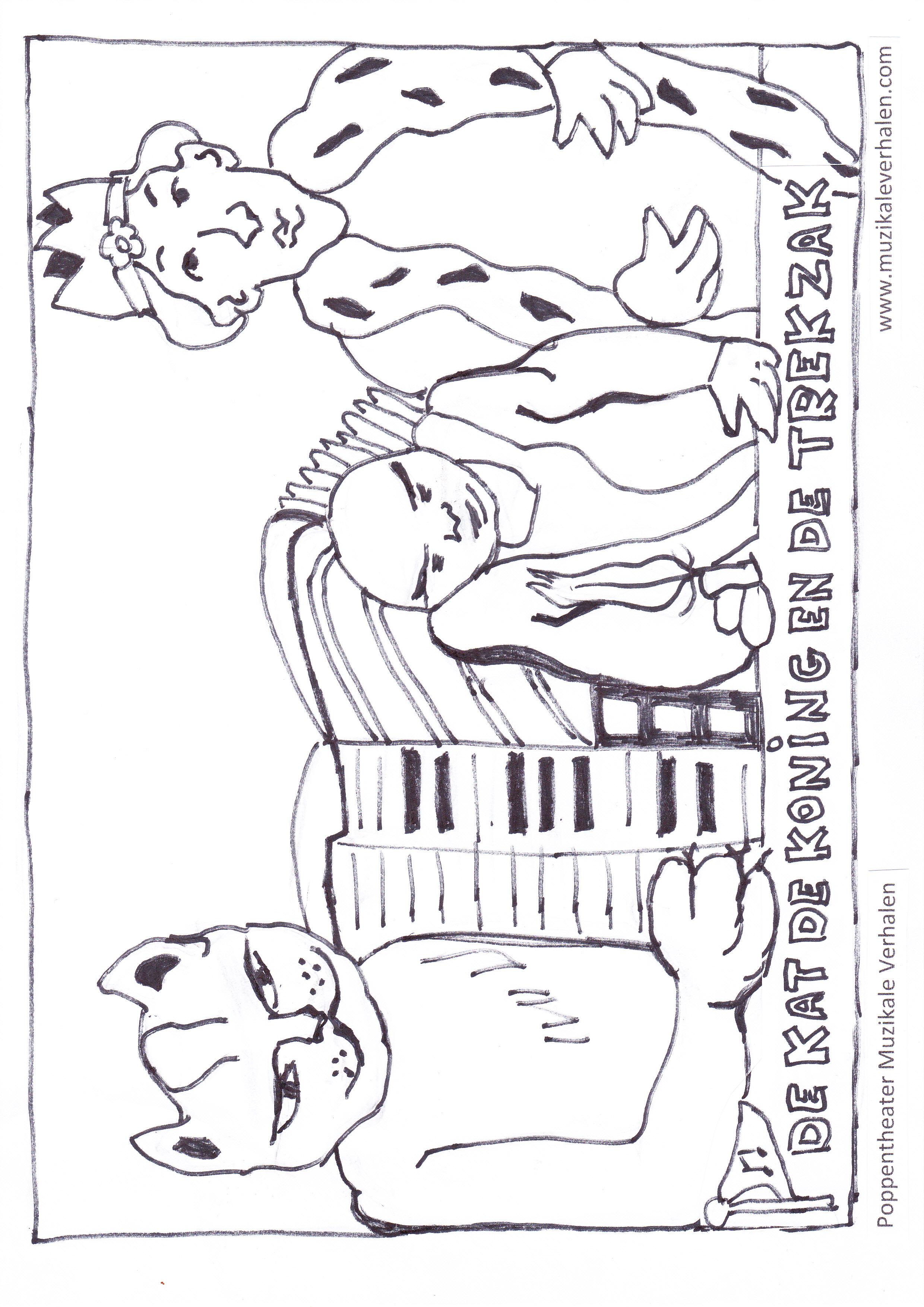 Kleurplaat Kat Koning Trezak